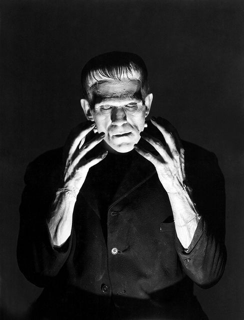"Publicity shot of Boris Karloff of Frankenstein's monster in James Whale's 1931 adaptation of ""Frankenstein"" for Universal Pictures"