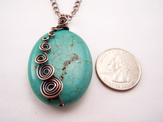 Blue Turquoise Freeform Antique Copper Spirals Necklace