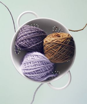 Use a colander to keep yarn or twine from getting tangled.