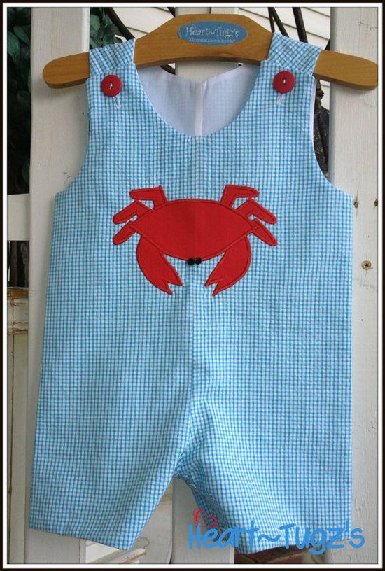 Boys Shortall Jon Jon Romper Turquoise Seersucker by HeartTugzs, $35.00