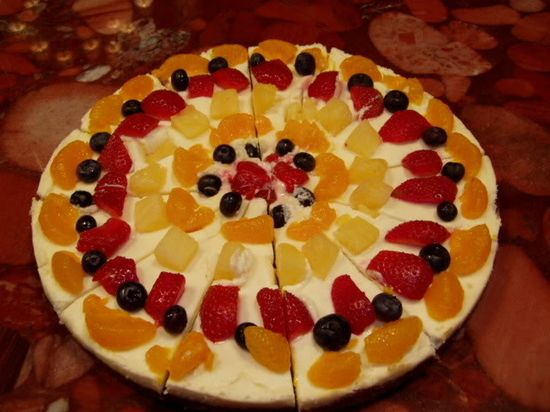 Fruit Pizza.  Stick to berries for topping to keep it straight S.
