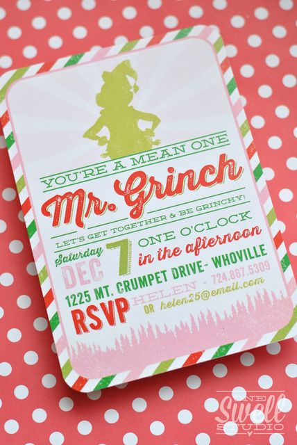 Cute Grinch Christmas party invitation. See more party ideas at CatchMyParty.com. #grinch #christmas #partyideas