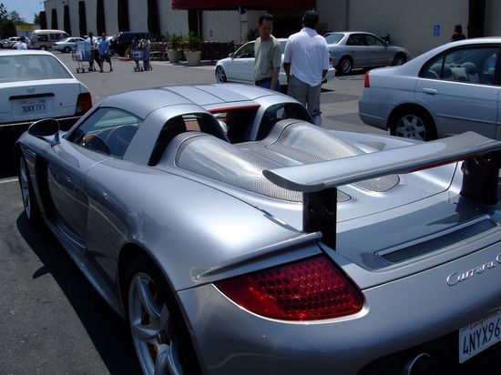 Side angle shot of the very fast Porsche Carrera GT #silver