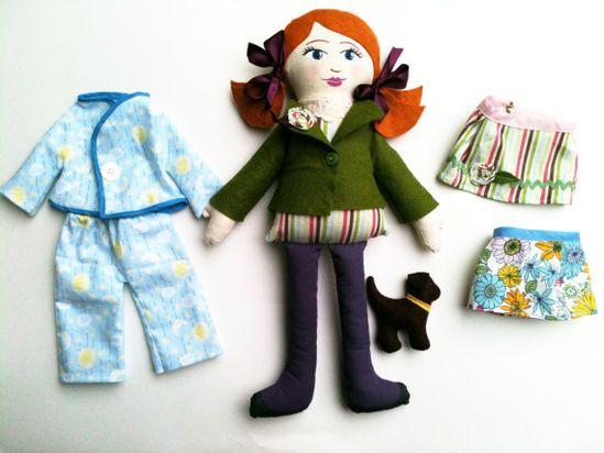 Custom Cloth Doll Set with outfits pajamas and stuffed animal
