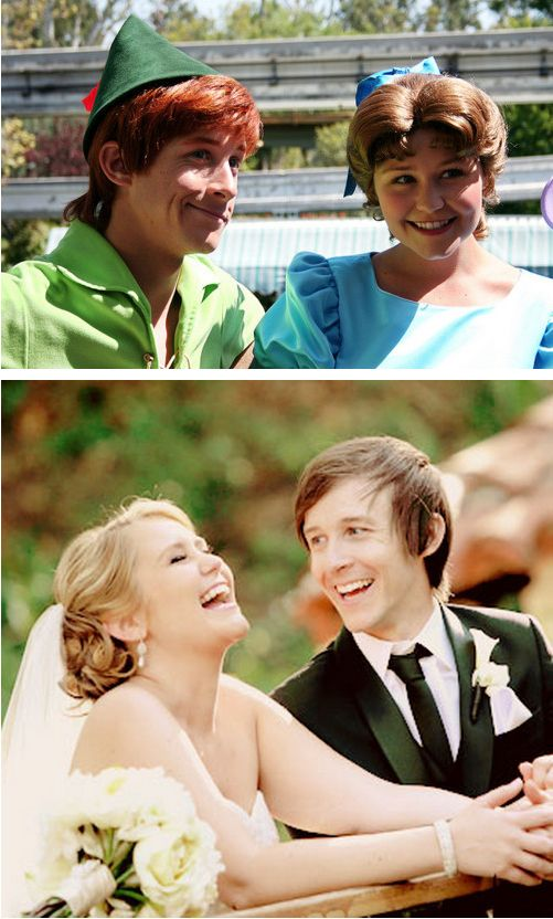 Two people who play Wendy and Peter Pan at Disney World got married in real life: :'))