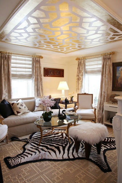 Love this room...the decorative ceiling is a great touch!