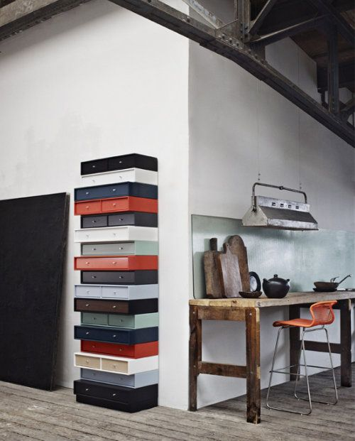 a column made of drawers