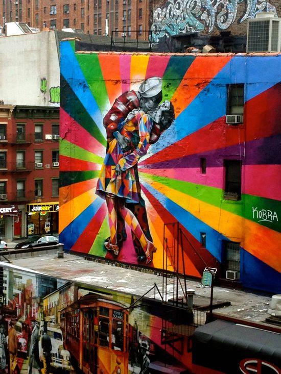 Icon into graffiti, NYC.