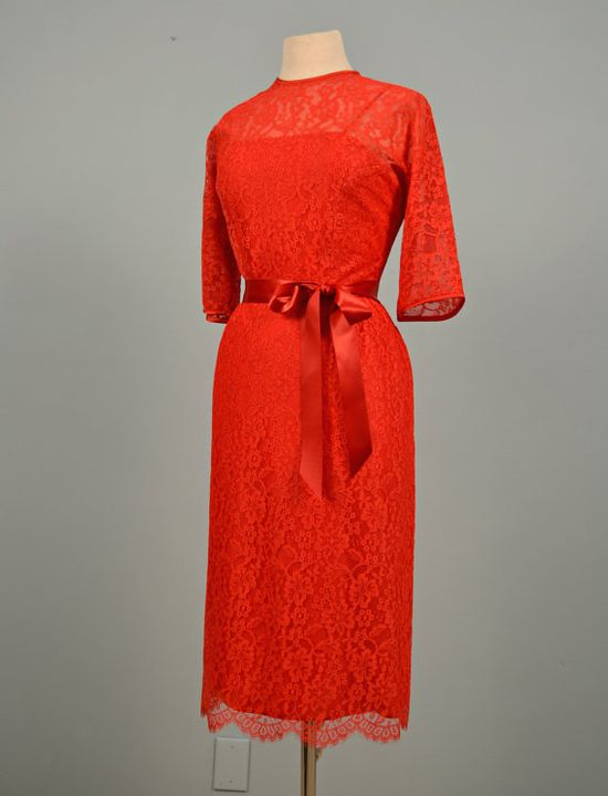 1960s Party Dress...DAUPHINE Red Lace Party Dress Cocktail Dress Bridesmaid Mad Men Holiday Med