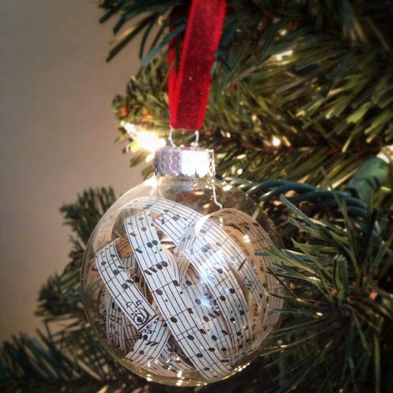 Handmade music sheet glass ornaments on Etsy, $30.00