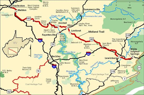 West Virginia Scenic Drives Map