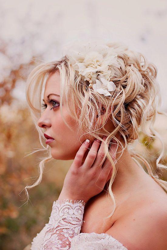 Wedding Hair Accessories- Champagne wedding hair piece -  Bridal flower headpiece   - vintage