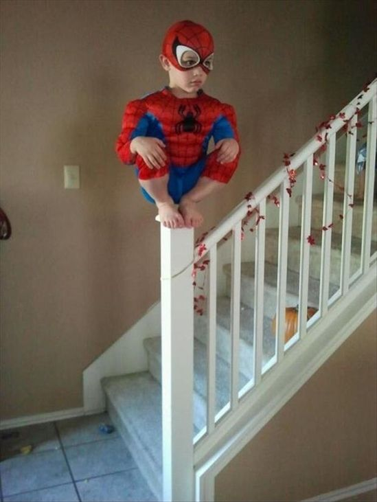 """Now this picture has a serious COOL FACTOR!!! """"Spider-Man, Spider-Man, doing all the things that a spider can."""""""