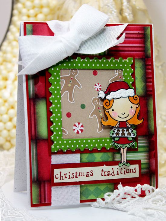What a fun, cheerful, sweetly adorable holiday card! #cards #handmade #scrapbooking #card_making #Christmas