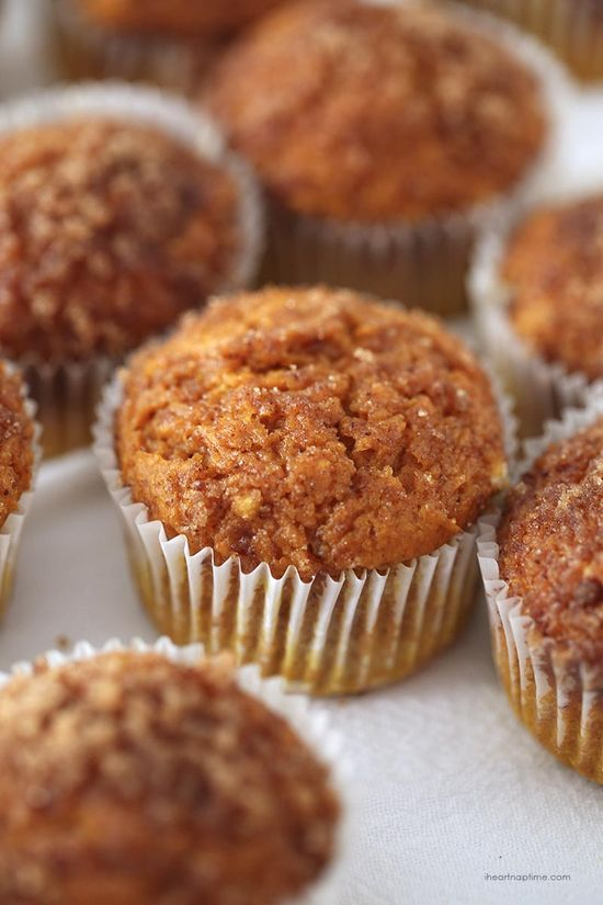 Pumpkin snickerdoodle muffins made from a cake mix!