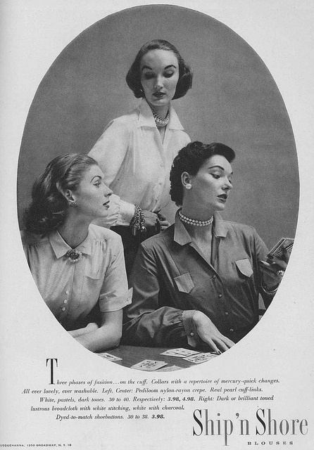 Make fashion waves in these timelessly lovely 1950s Ship 'n Shore blouses. #vintage #1950s #fashion #ad