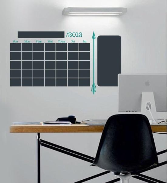 Cool above desk - Arrow Vinyl Chalkboard Wall Calendar for Home Organization, Kitchen, Laundry Room. $38.00, via Etsy.