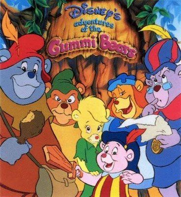 """Adventures of the Gummi Bears cartoons - living in a hollow tree called Gummi Glen and harvesting Gummiberries in the forest are old-fashioned Gruffi, aged and """"Keeper of Gummi Wisdom"""" Zummi, matriarch Grammi who prepares the Gummiberry Juice, overweight teenager Tummi, princess-like preteen Sunni and youngest Cubbi who wants to be a great Gummi knight!"""