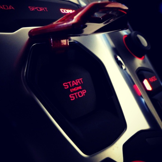 Very very cool START and STOP button in the Lamborghini Aventador! Reminds me of a Rocket! #insane