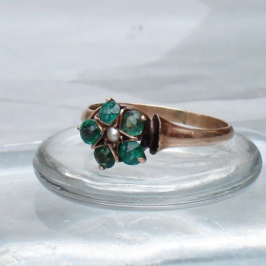 victorian emerald star ring