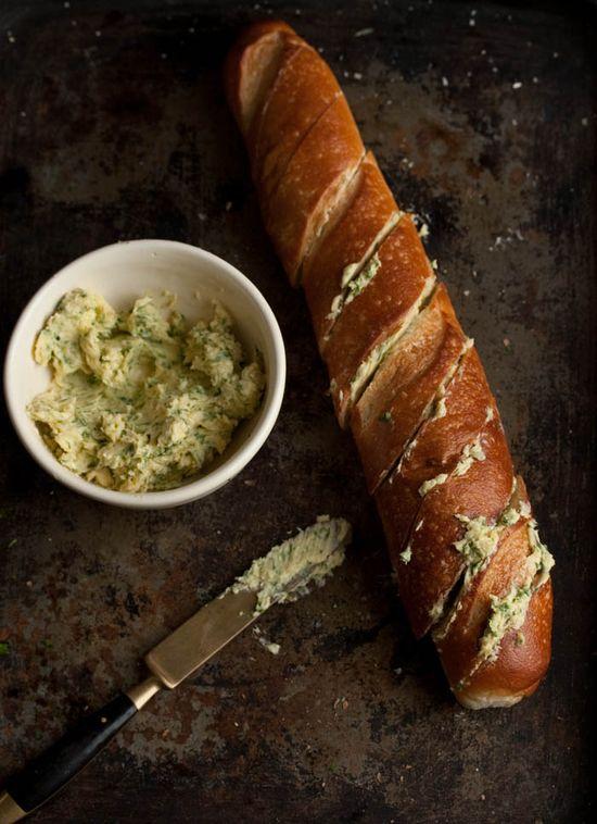 Garlic bread with coriander and parmesan