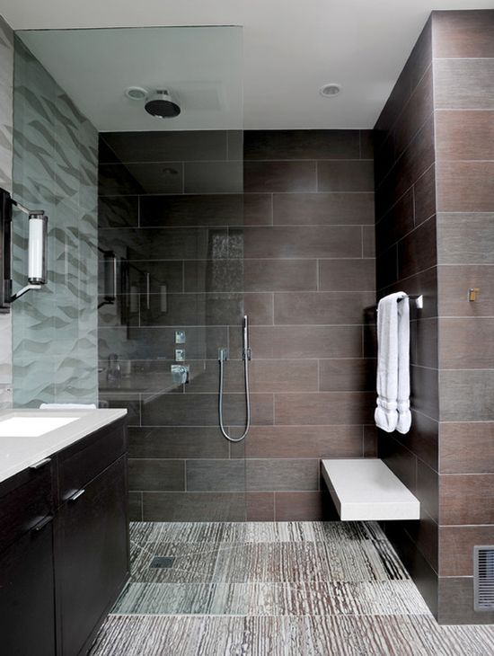 #Contemporary #bathroom #design with an open #shower and large tiles