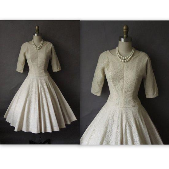 50's Wedding Dress // Vintage 1950's Cream by TheVintageStudio, $168.00