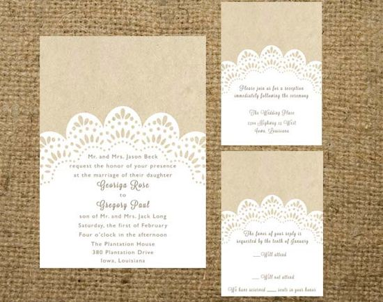 PRINTABLE Kraft and Lace Doily Wedding Invitation Set. $32.00, via Etsy.