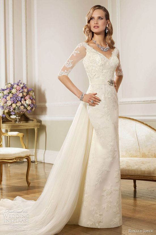 ronald joyce wedding dresses 2013 lace sheath gown sleeves