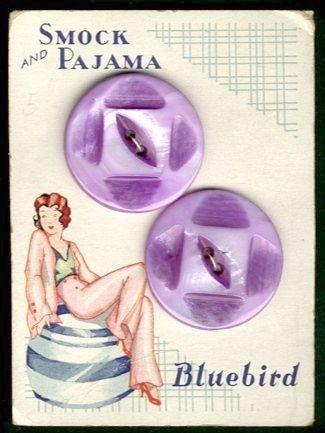 Bluebird purple pearl button card