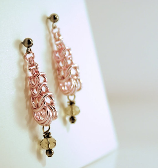 Earrings Icy Pink Chainmaille & Smokey by GallowayGirlHandmade