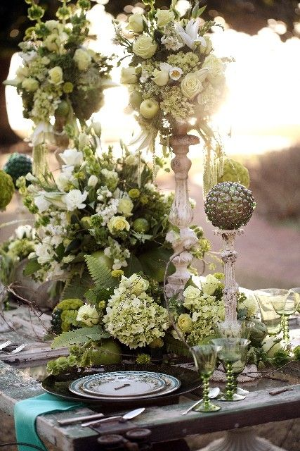 candlestick arrangements on table