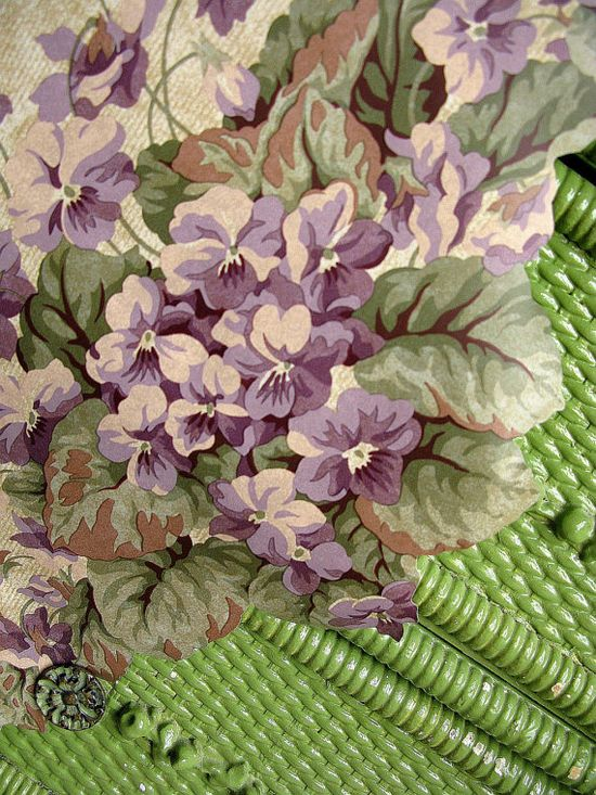 Vintage Wallpaper Border Sweet Violets by Vintage French Roses