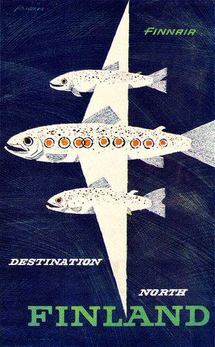 Erik Bruun Illustration    Travel poster for Finnair. From Graphis Annual 61/62.