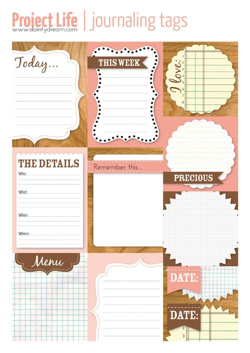 Project Life journal cards free printable in English and Dutch