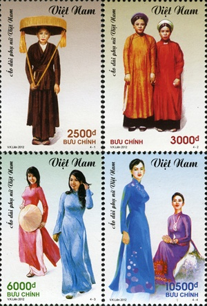 Postage stamps & ao dai (traditional vietnamese dress)