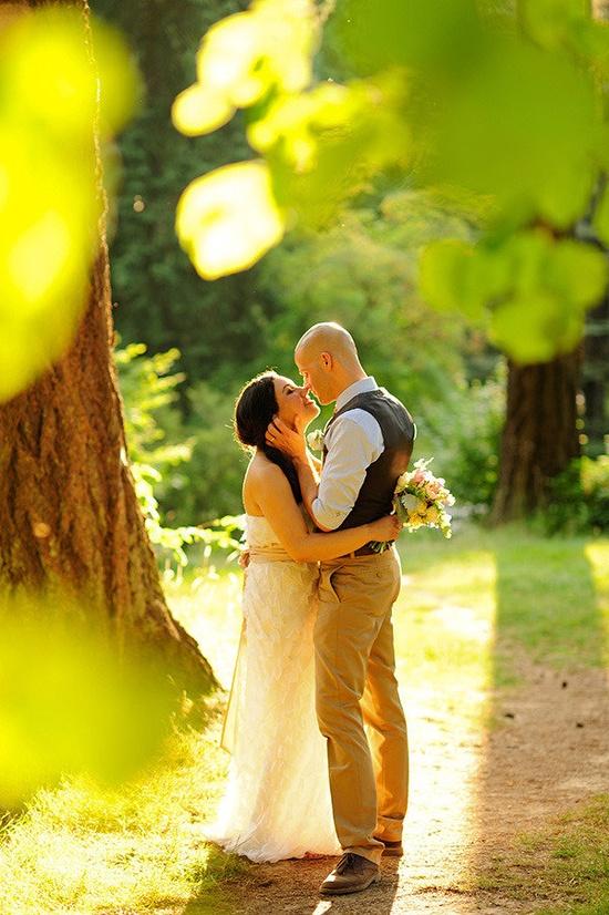 Through the Trees Photo... so sweet. #sunlight #wedding #Photo #couple #photography #nature #trees #romantic