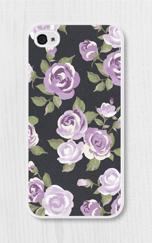 Purple Floral iPhone Case iPhone 4 Case iPhone 4s by fieldtrip