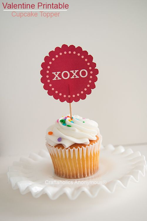 Valentine cupcake toppers from Craftaholics anonymous