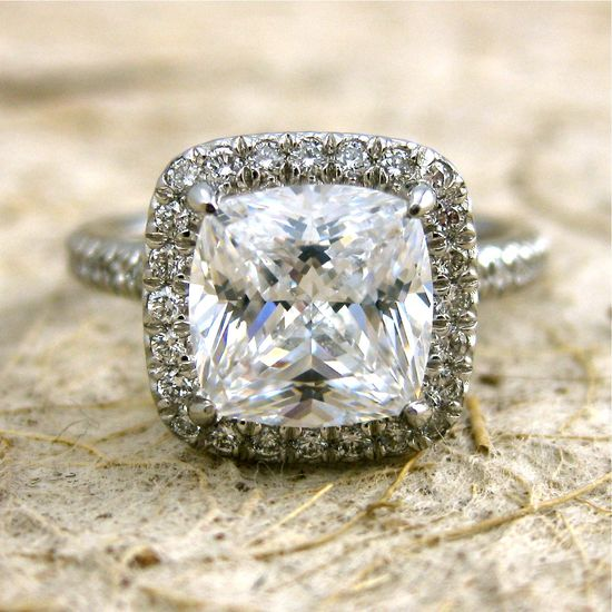 Platinum Micro Pave Diamond Engagement Ring Your Choice of Center Stone