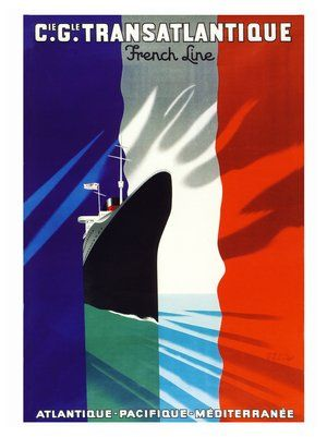 French Line Sea Travel, 1930's