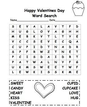 Free! Valentine Word Search