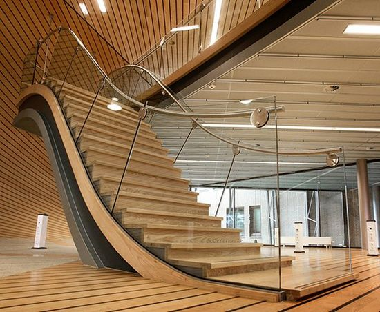 Nice touch for an open, modern staircase.  Interior design by EeStairs