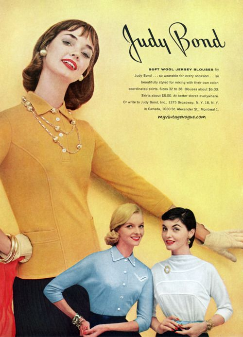 Judy Bond soft wool jersey blouses (1955). #vintage #1950s #fashion #ads