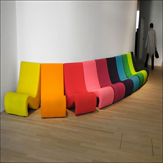 This is awesome!!! #design #art #chairs #mod #furniture #rainbow #colors #design