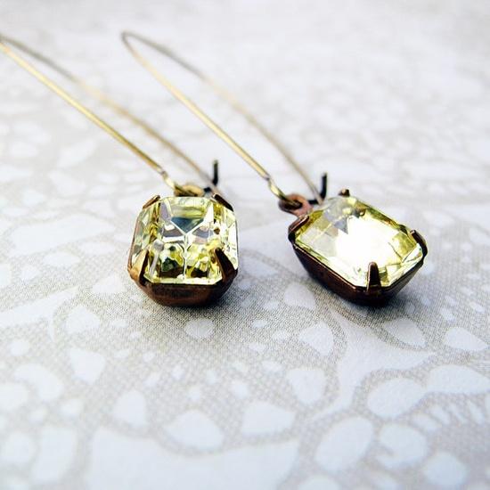 Yellow Vintage Crystal Earrings Swarovski by jFrancesDesign