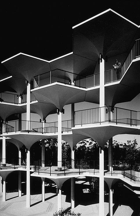 The Breezeway (with figure), UC San Diego, April 1966 — Ansel Adams