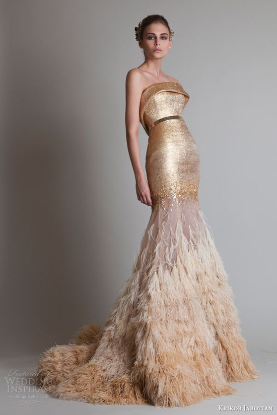 krikor jabotian couture fall 2013 closure strapless gold ombre dress