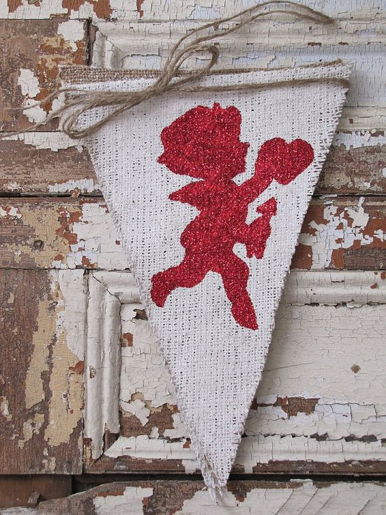 Cupid Burlap Banner Valentines Day by funkyshique on Etsy, $28.00