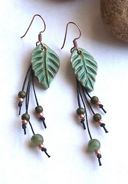 green lead earrings